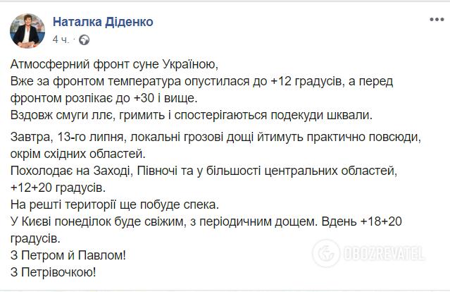 Україну охоплять грозові дощі: прогноз погоди на понеділок