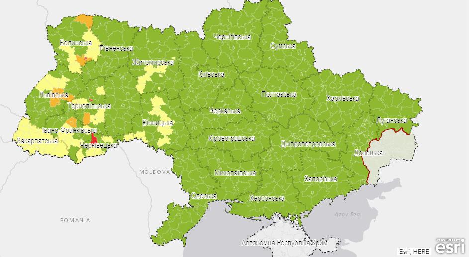Візуалізація епідемічних показників на рівні районів і міст обласного значення.