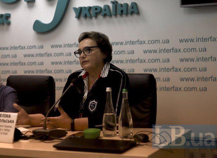 Анжеліка Добровольська на пресконференції.